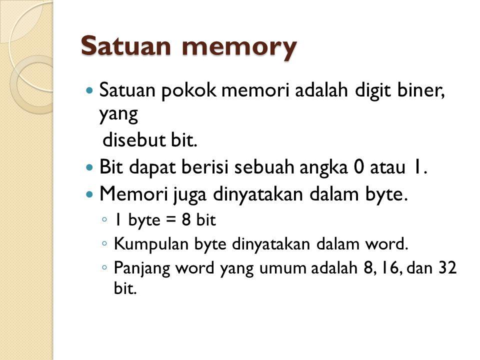 Satuan memory Satuan pokok memori adalah digit biner, yang