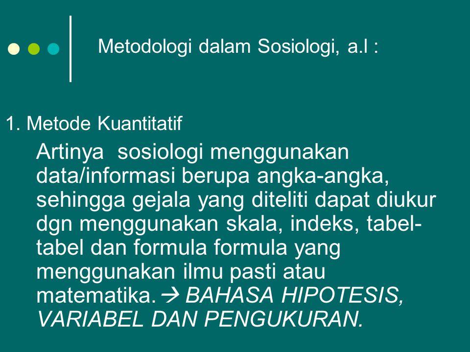 Metodologi dalam Sosiologi, a.l :