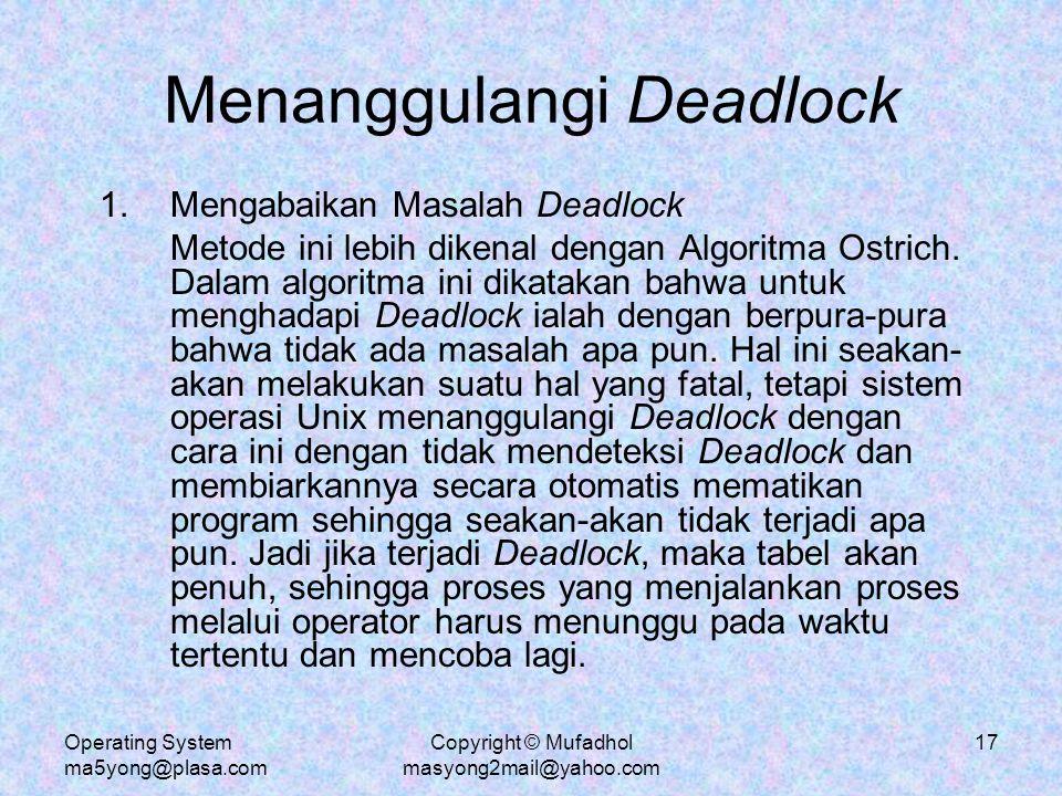 Menanggulangi Deadlock