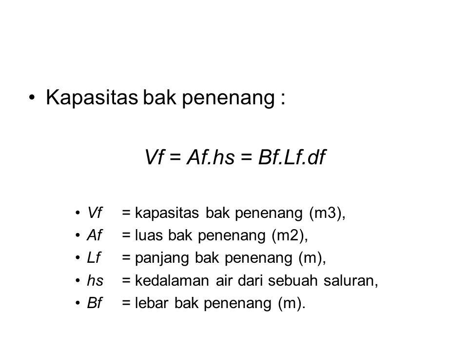 Kapasitas bak penenang : Vf = Af.hs = Bf.Lf.df