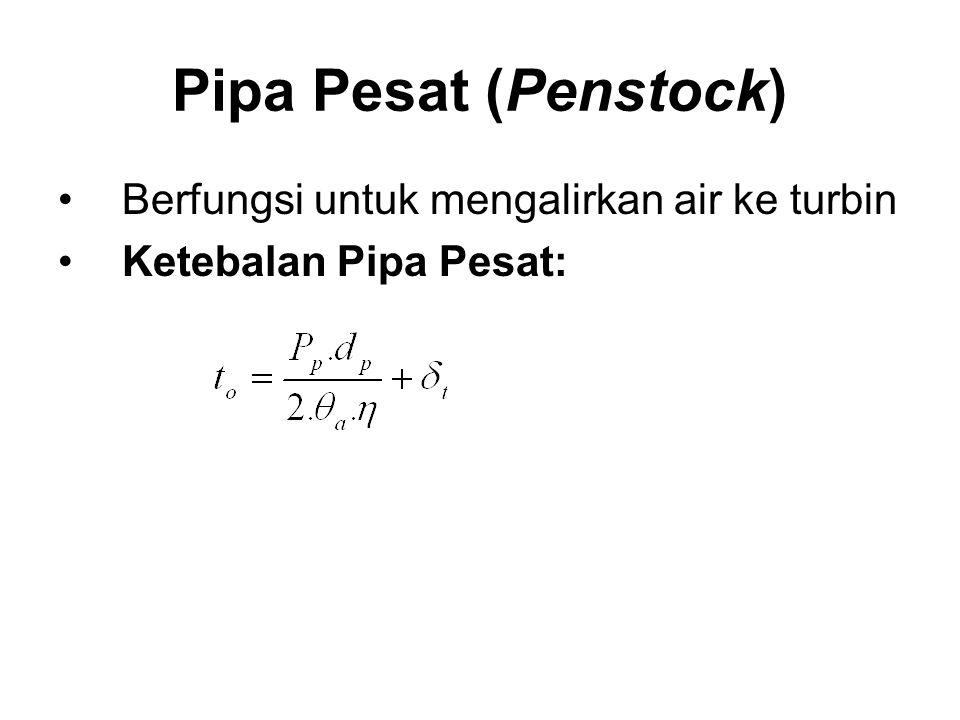 Pipa Pesat (Penstock) Berfungsi untuk mengalirkan air ke turbin