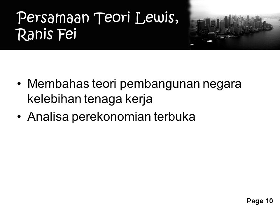 Persamaan Teori Lewis, Ranis Fei