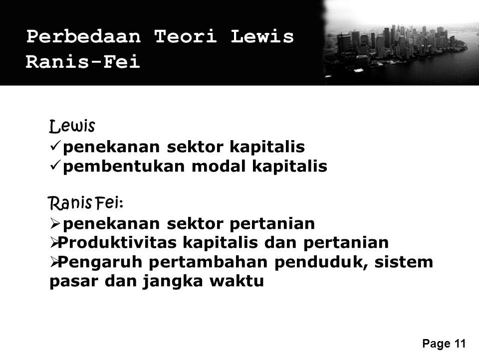 Perbedaan Teori Lewis Ranis-Fei