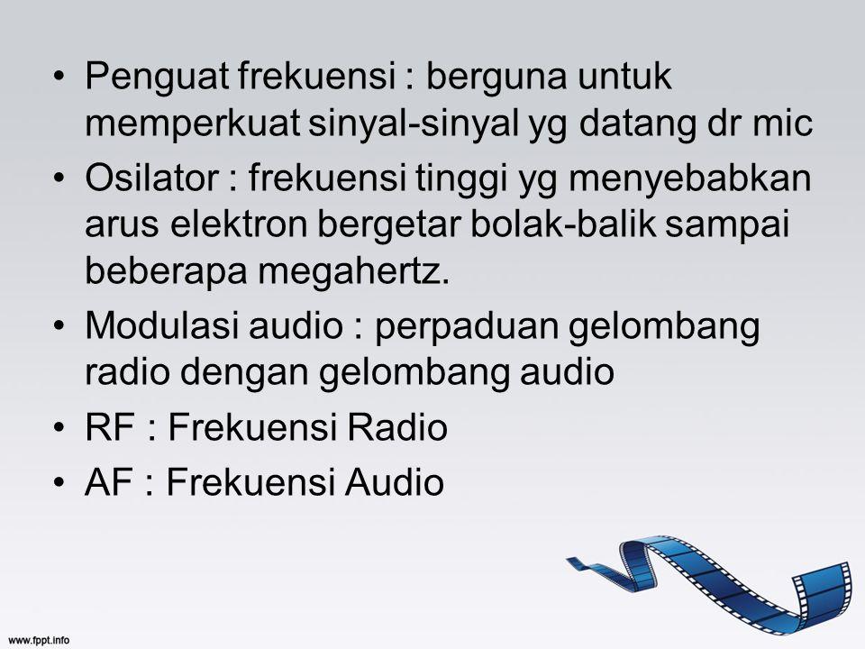 Penguat frekuensi : berguna untuk memperkuat sinyal-sinyal yg datang dr mic