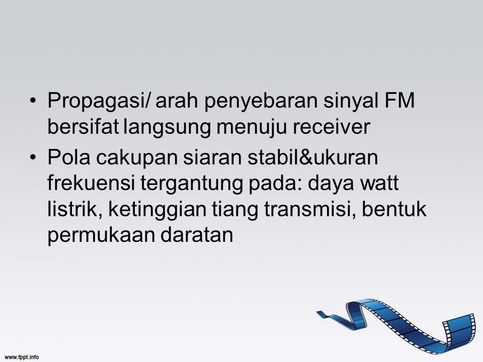 Propagasi/ arah penyebaran sinyal FM bersifat langsung menuju receiver