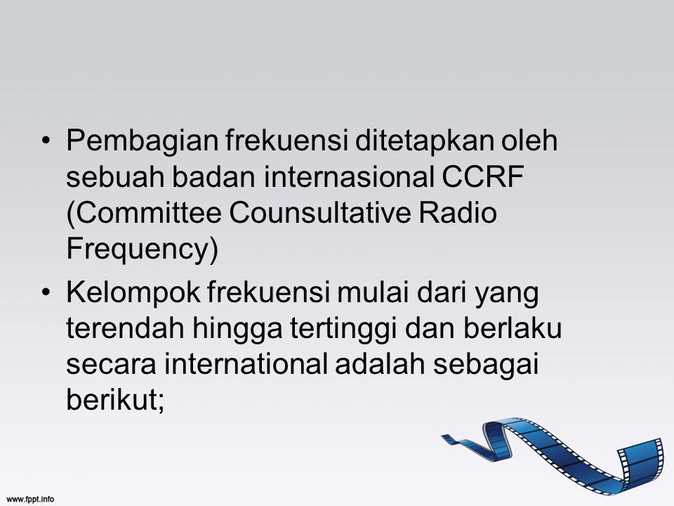 Pembagian frekuensi ditetapkan oleh sebuah badan internasional CCRF (Committee Counsultative Radio Frequency)