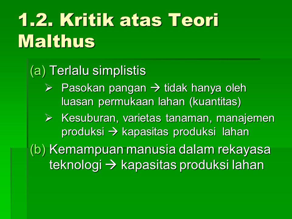 1.2. Kritik atas Teori Malthus