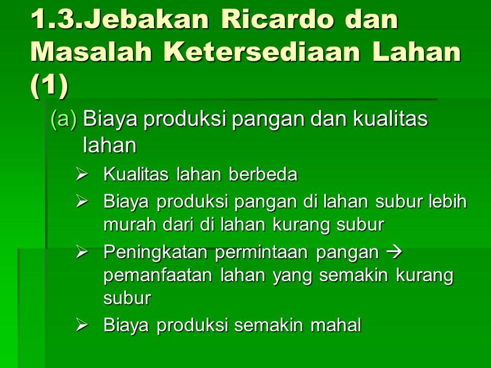 1.3.Jebakan Ricardo dan Masalah Ketersediaan Lahan (1)