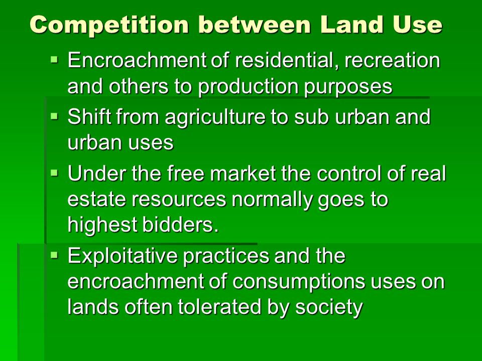Competition between Land Use