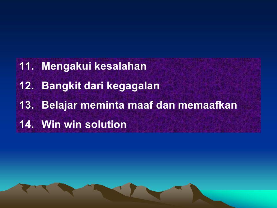 Mengakui kesalahan Bangkit dari kegagalan Belajar meminta maaf dan memaafkan Win win solution