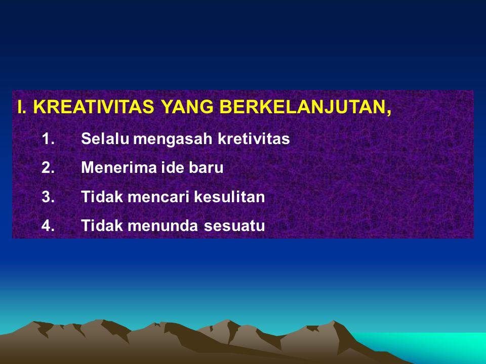 I. KREATIVITAS YANG BERKELANJUTAN,