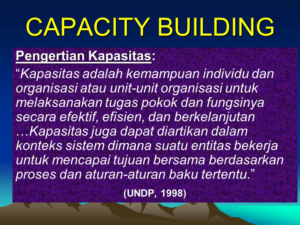 CAPACITY BUILDING Pengertian Kapasitas: