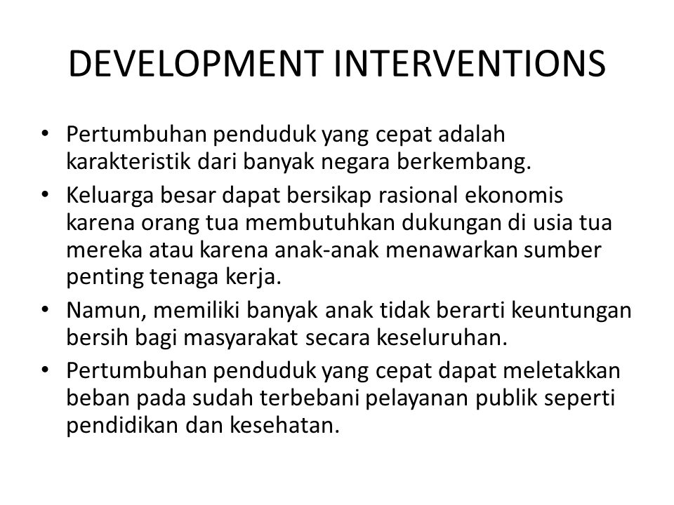 DEVELOPMENT INTERVENTIONS