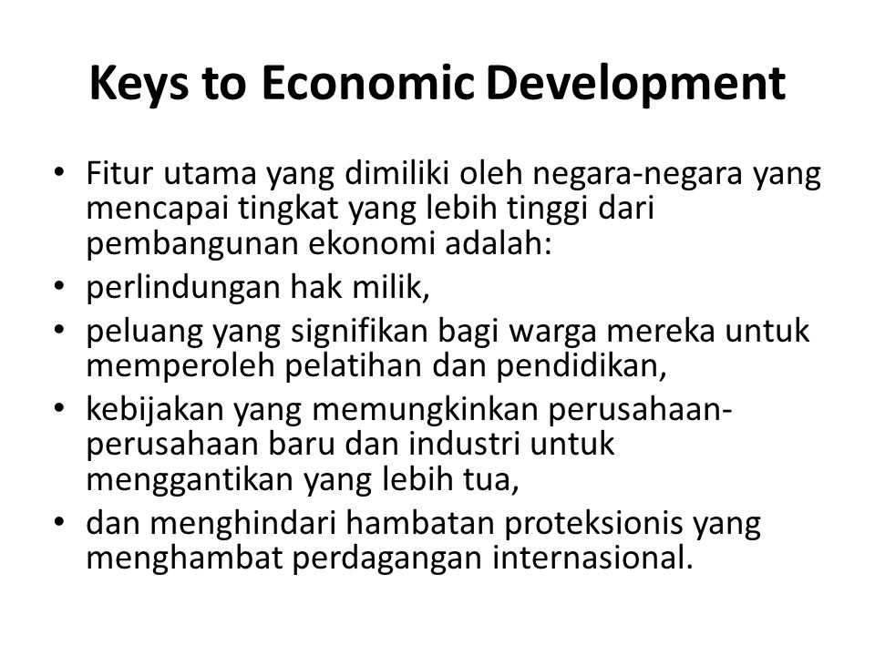 Keys to Economic Development