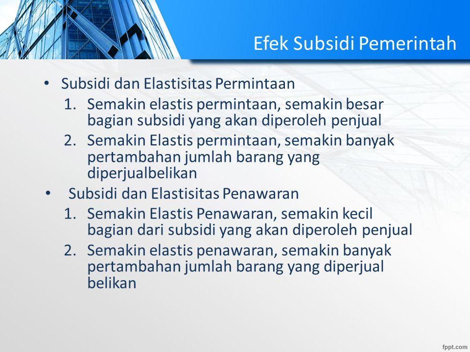 Efek Subsidi Pemerintah
