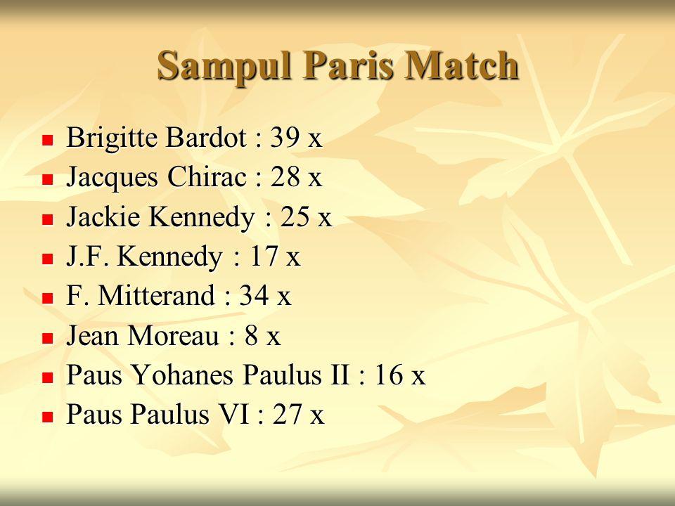 Sampul Paris Match Brigitte Bardot : 39 x Jacques Chirac : 28 x