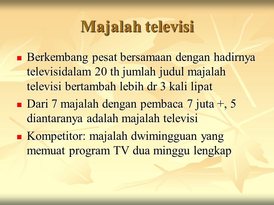 Majalah televisi Berkembang pesat bersamaan dengan hadirnya televisidalam 20 th jumlah judul majalah televisi bertambah lebih dr 3 kali lipat.