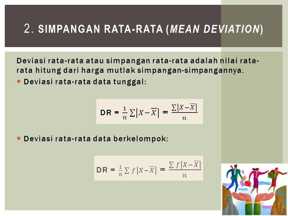 2. Simpangan Rata-rata (Mean Deviation)