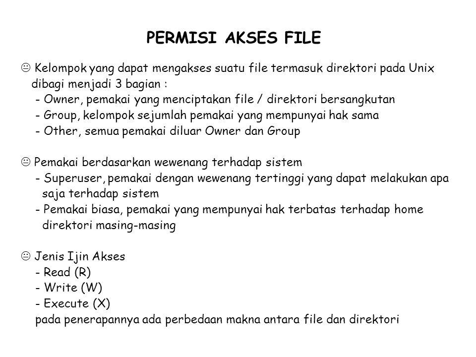 PERMISI AKSES FILE Kelompok yang dapat mengakses suatu file termasuk direktori pada Unix. dibagi menjadi 3 bagian :