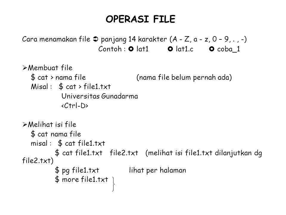 OPERASI FILE Cara menamakan file  panjang 14 karakter (A - Z, a - z, 0 – 9, . , -) Contoh :  lat1  lat1.c  coba_1.