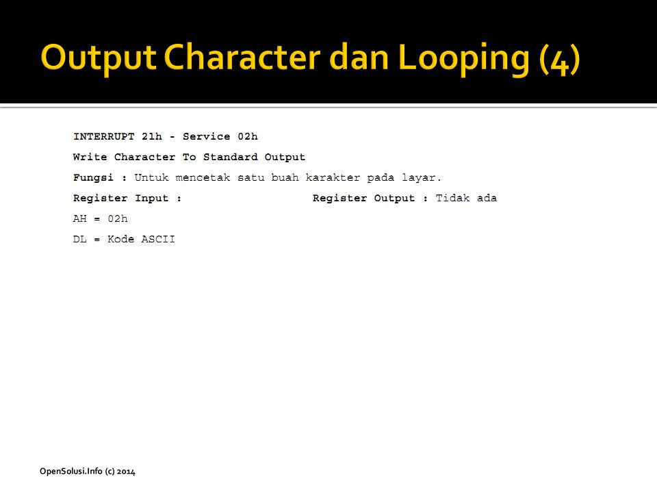 Output Character dan Looping (4)