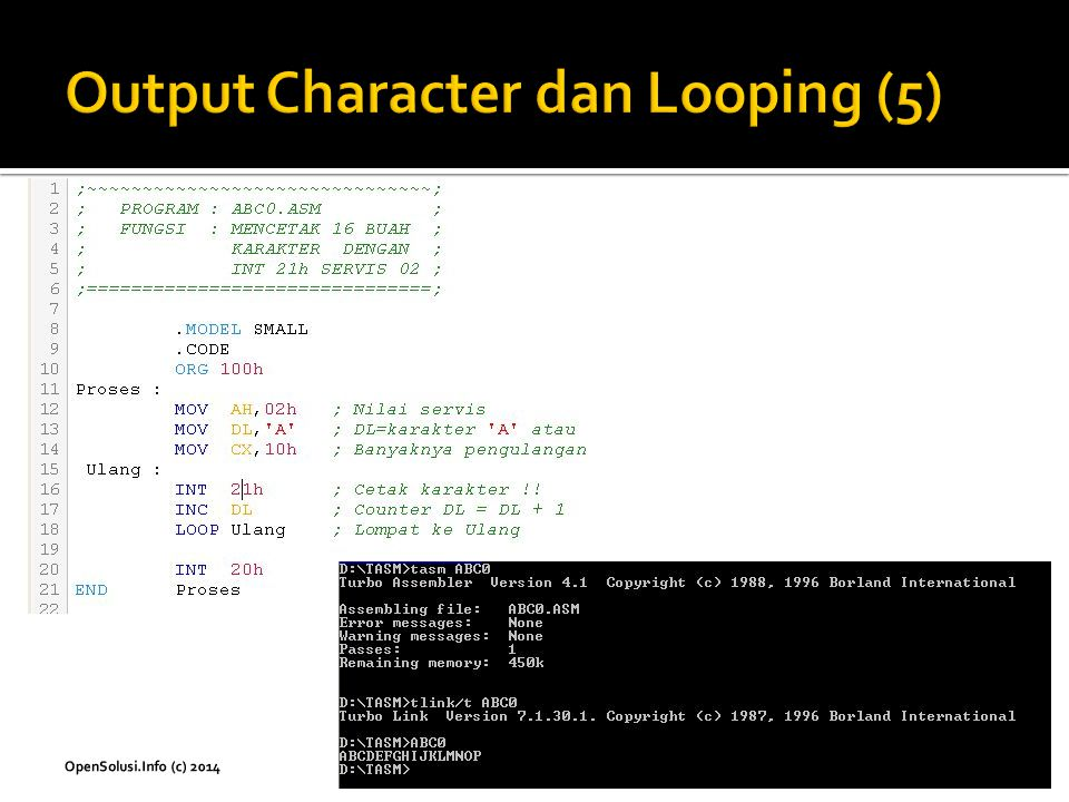 Output Character dan Looping (5)