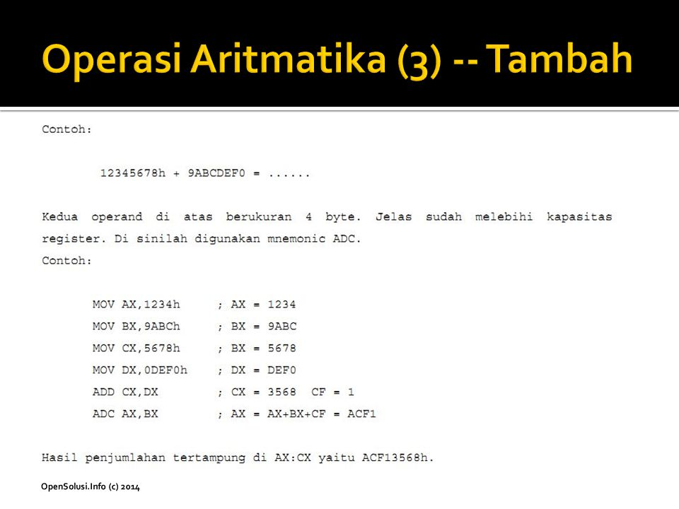 Operasi Aritmatika (3) -- Tambah