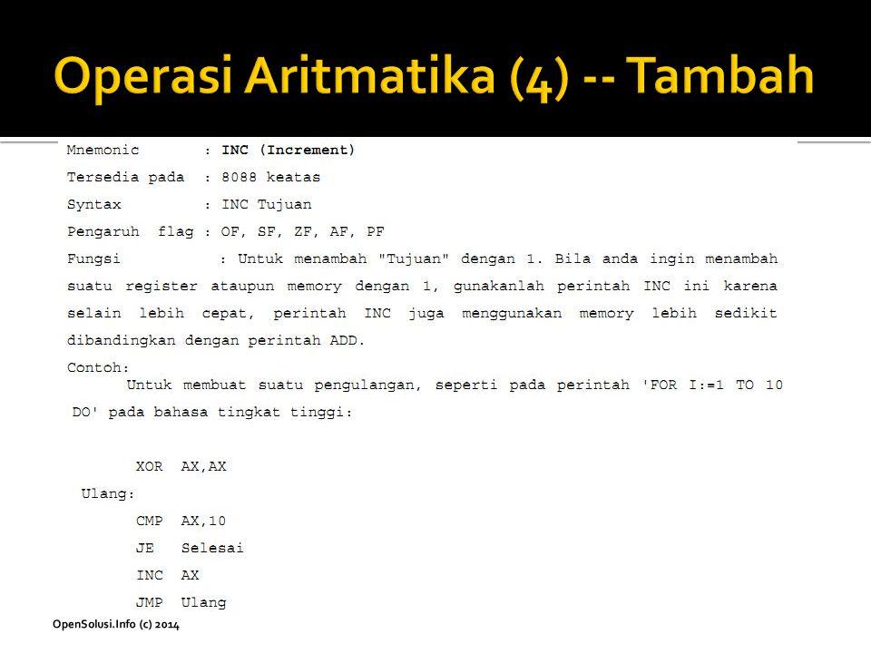 Operasi Aritmatika (4) -- Tambah