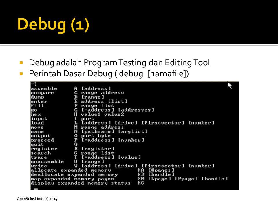 Debug (1) Debug adalah Program Testing dan Editing Tool