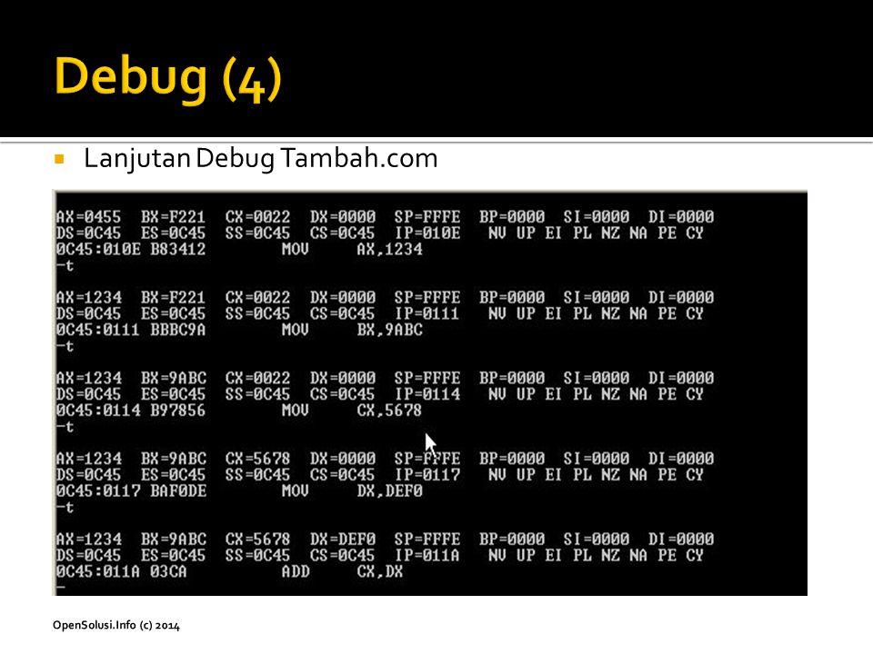 Debug (4) Lanjutan Debug Tambah.com