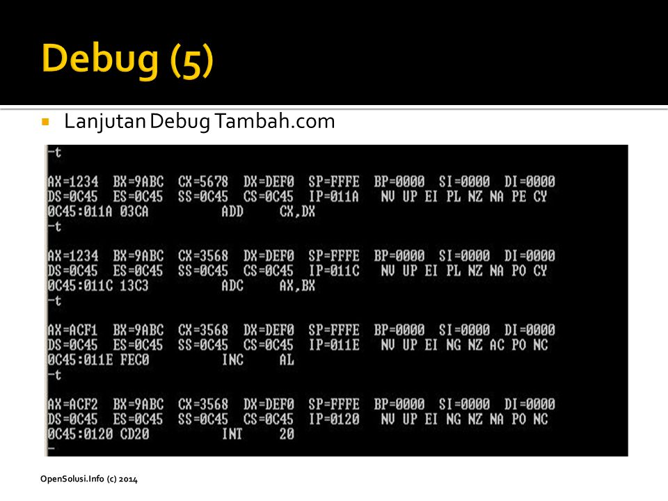 Debug (5) Lanjutan Debug Tambah.com