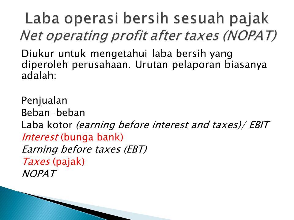 Laba operasi bersih sesuah pajak Net operating profit after taxes (NOPAT)