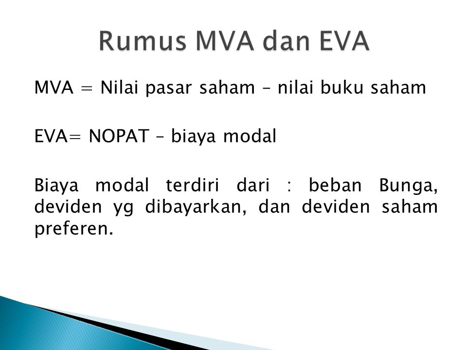Rumus MVA dan EVA