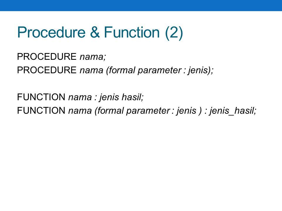 Procedure & Function (2)