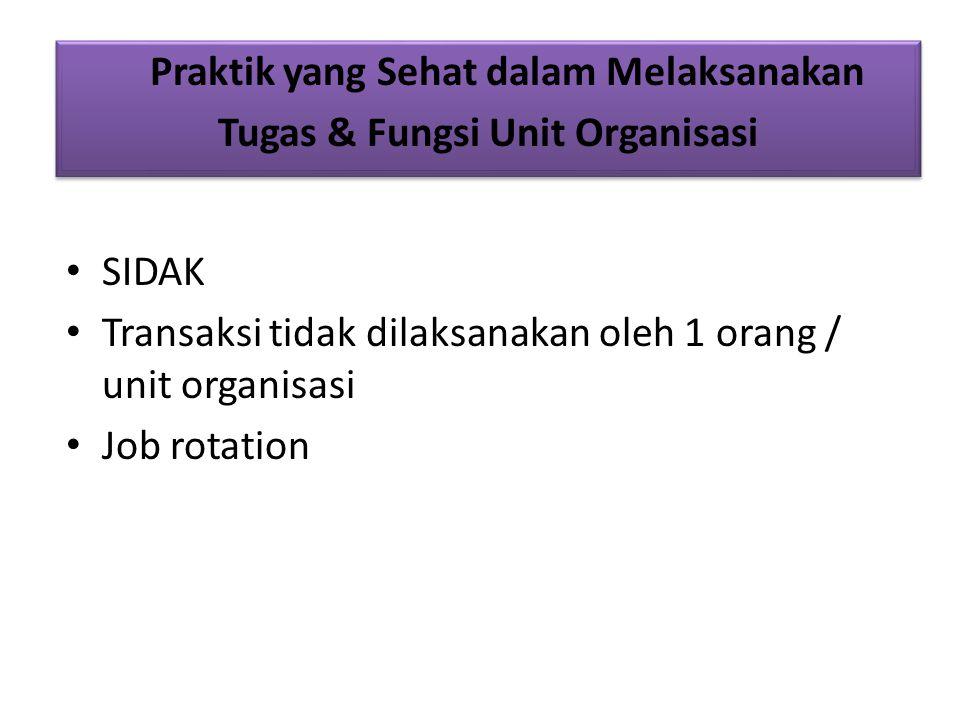 Praktik yang Sehat dalam Melaksanakan Tugas & Fungsi Unit Organisasi