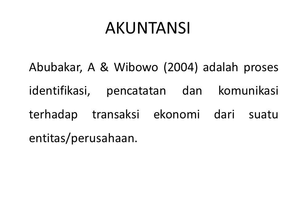 AKUNTANSI Abubakar, A & Wibowo (2004) adalah proses identifikasi, pencatatan dan komunikasi terhadap transaksi ekonomi dari suatu entitas/perusahaan.