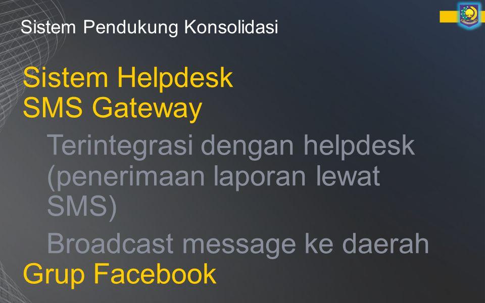 Terintegrasi dengan helpdesk (penerimaan laporan lewat SMS)