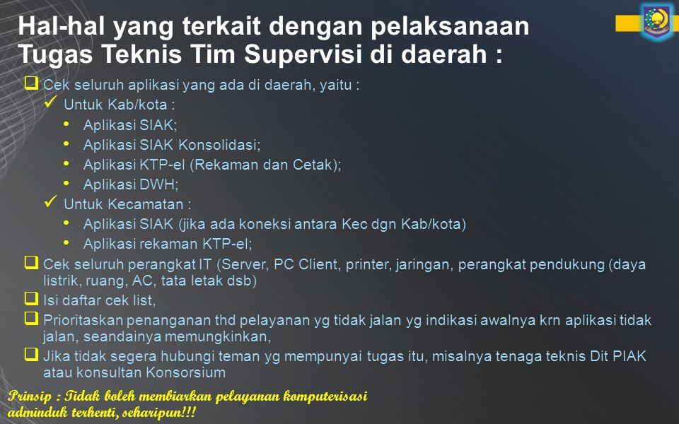 Hal-hal yang terkait dengan pelaksanaan Tugas Teknis Tim Supervisi di daerah :