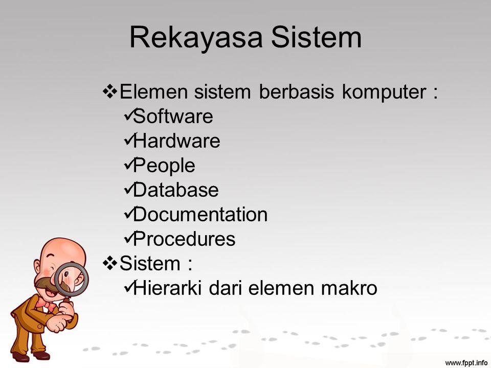 Rekayasa Sistem Elemen sistem berbasis komputer : Software Hardware
