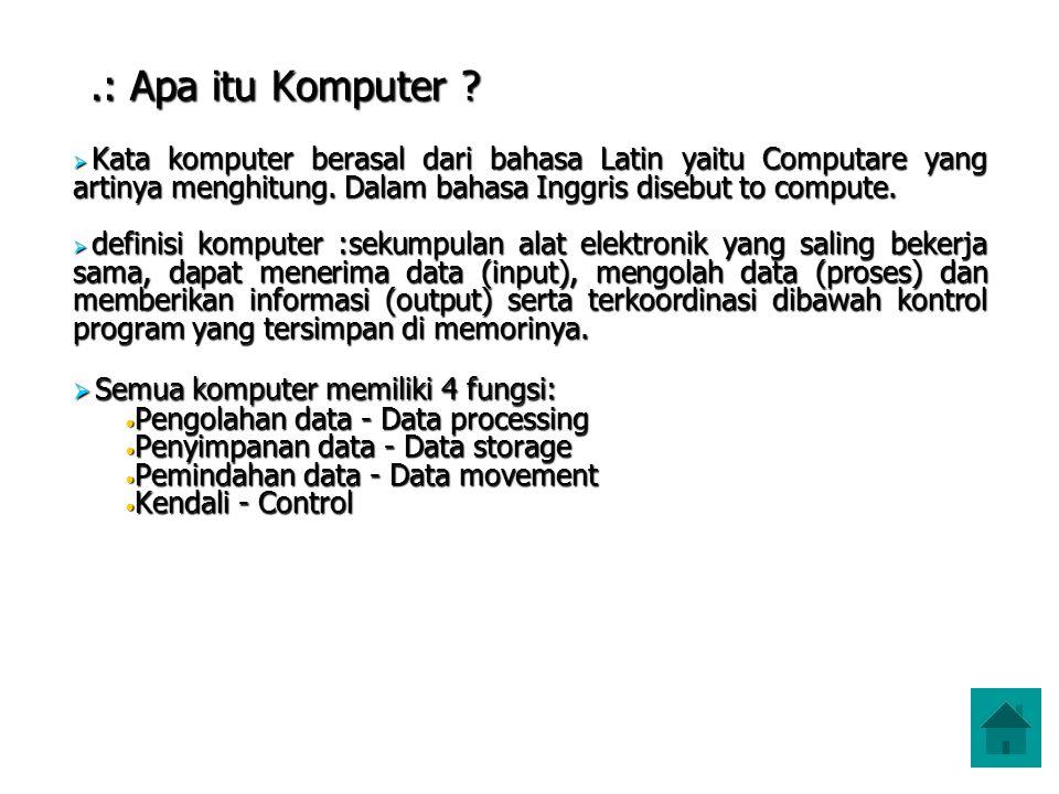 .: Apa itu Komputer Semua komputer memiliki 4 fungsi: