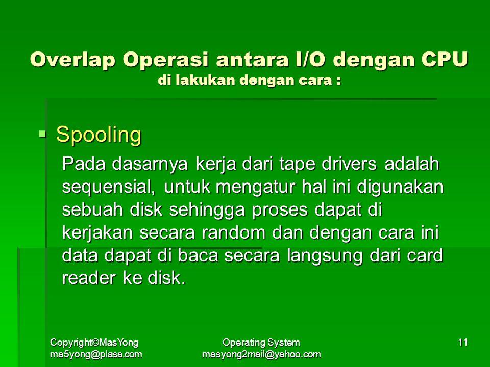 Overlap Operasi antara I/O dengan CPU di lakukan dengan cara :