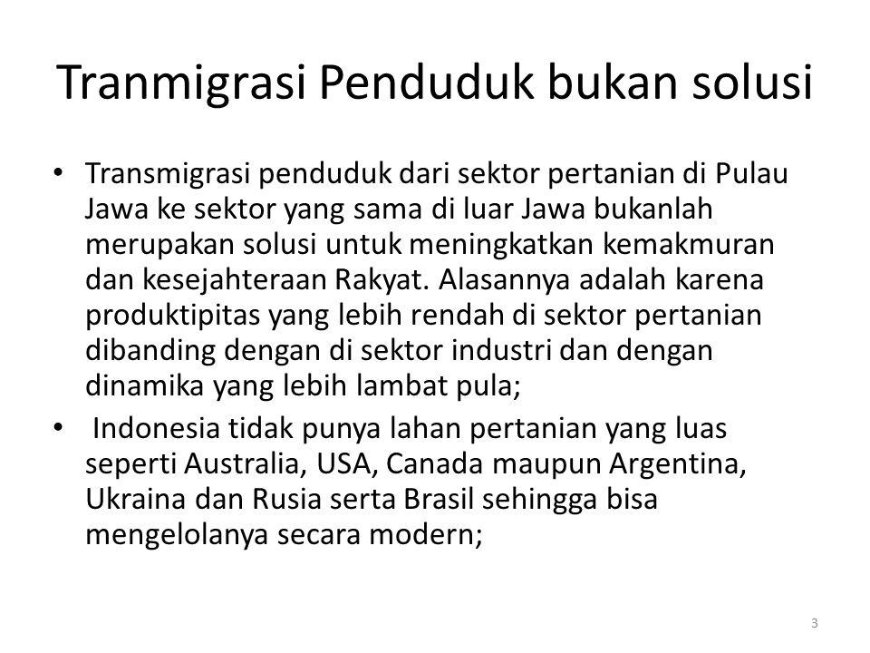 Tranmigrasi Penduduk bukan solusi