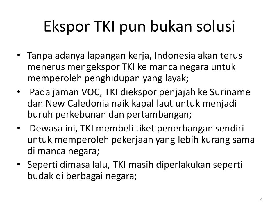 Ekspor TKI pun bukan solusi