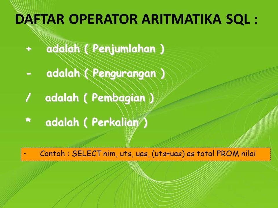 DAFTAR OPERATOR ARITMATIKA SQL :