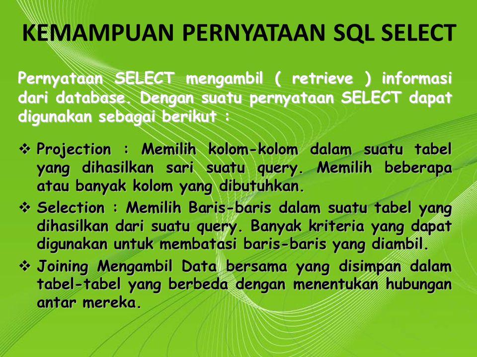 KEMAMPUAN PERNYATAAN SQL SELECT
