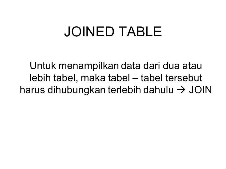 JOINED TABLE Untuk menampilkan data dari dua atau lebih tabel, maka tabel – tabel tersebut harus dihubungkan terlebih dahulu  JOIN.