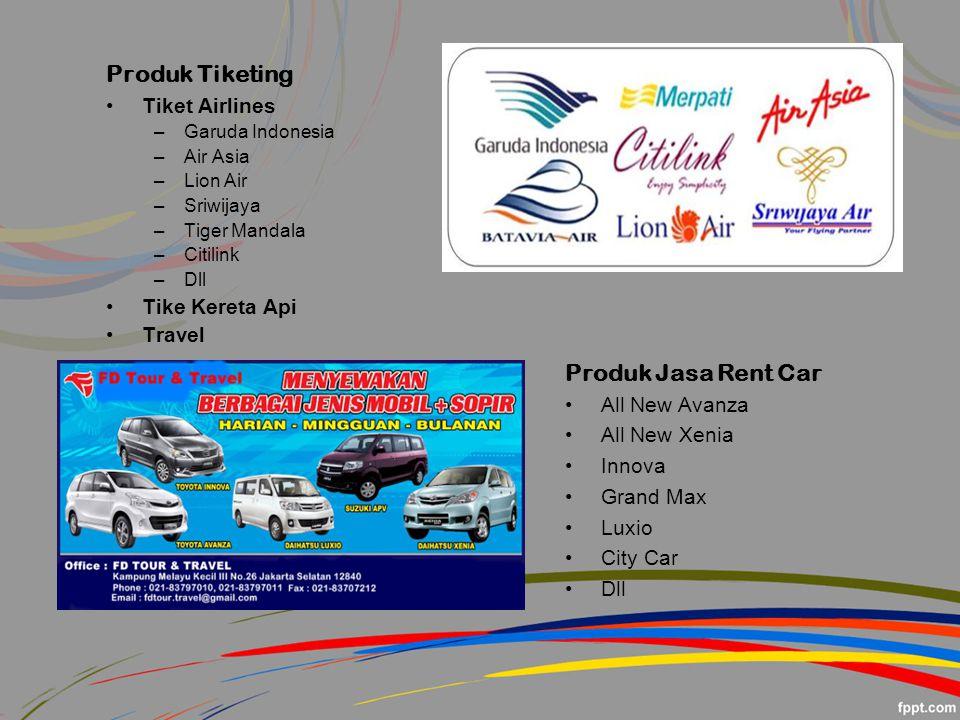 Produk Tiketing Produk Jasa Rent Car Tiket Airlines Tike Kereta Api