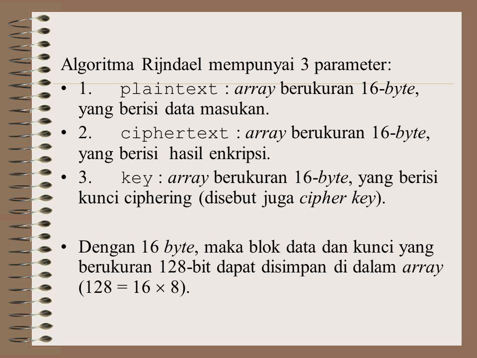 Algoritma Rijndael mempunyai 3 parameter: