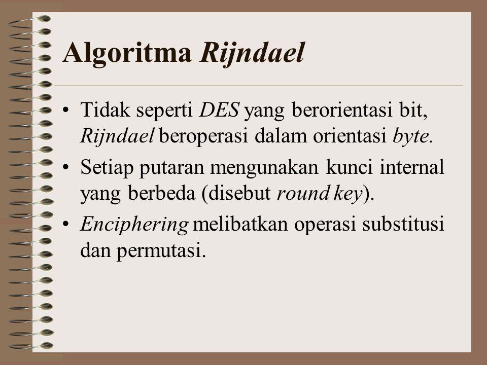 Algoritma Rijndael Tidak seperti DES yang berorientasi bit, Rijndael beroperasi dalam orientasi byte.