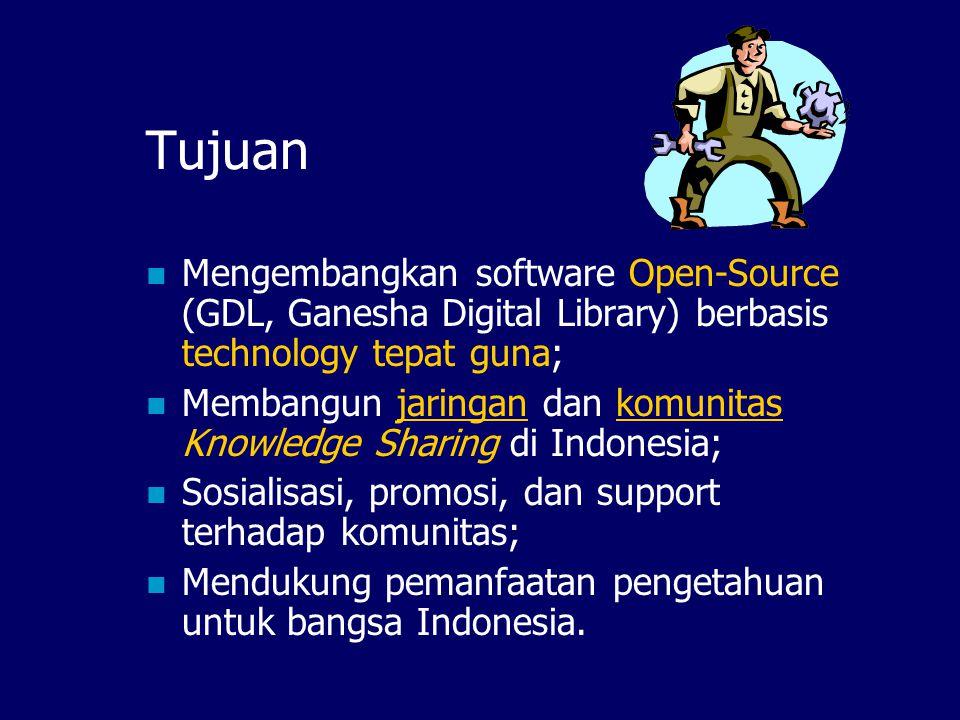 Tujuan Mengembangkan software Open-Source (GDL, Ganesha Digital Library) berbasis technology tepat guna;